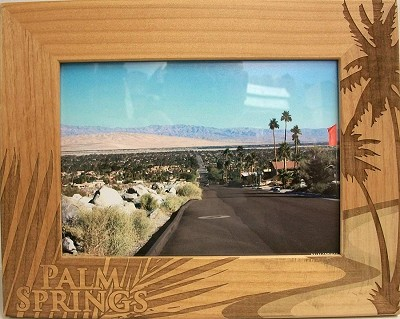 Palm Springs California with Palm Tree Laser Engraved Wood Picture Frame (5 x 7)
