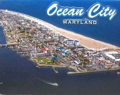 Ocean City Maryland Aerial View Highlight Fridge Magnet