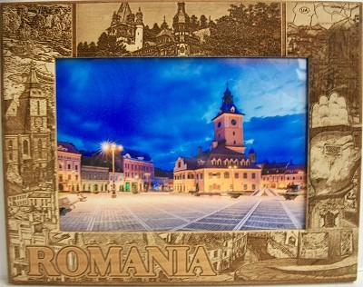 Romania Laser Engraved Wood Picture Frame (5 x 7)