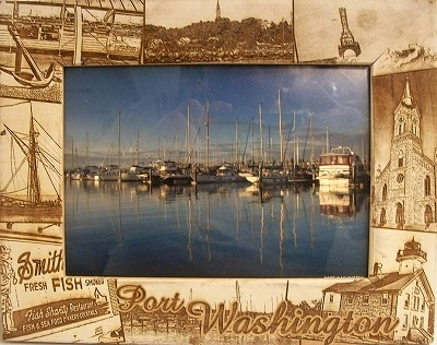 Port Washington Wisconsin Laser Engraved Wood Picture Frame (5 x 7)