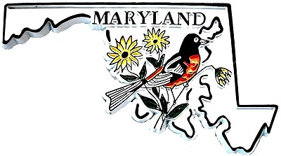 Maryland 4 Color State with Oriole Souvenir Fridge Magnet