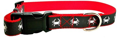 Maryland Blue Crab Large Red and Grey Reflective Dog Collar