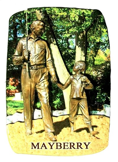 Mayberry North Carolina with Andy and Opie Statue Artwood Fridge Magnet