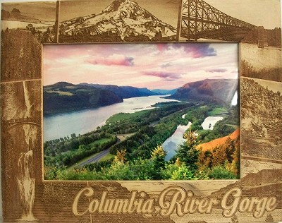 Columbia River Gorge Laser Engraved Wood Picture Frame (5 x 7)