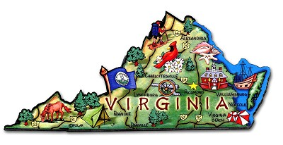 Virginia State Outline Artwood Jumbo Fridge Magnet