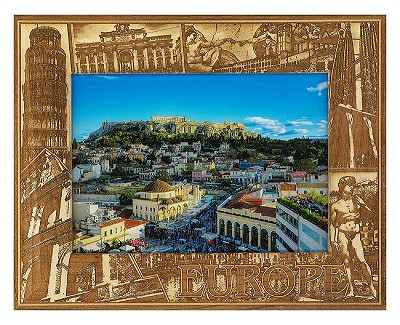 Europe Laser Engraved Wood Picture Frame (5 x 7)
