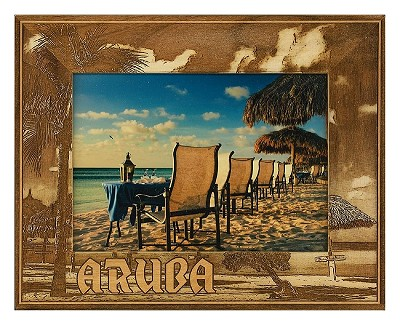 Aruba Laser Engraved Wood Picture Frame (5 x 7)