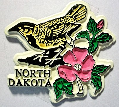 North Dakota with Western Meadowlark and Flowers Fridge Magnet Design 1