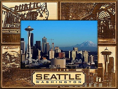 Seattle Washington Montage Laser Engraved Wood Picture Frame (5 x 7)
