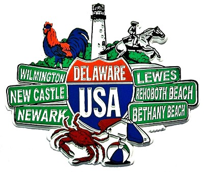 Delaware Street Signs Fridge Magnet