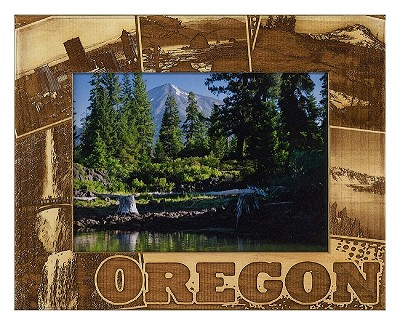Oregon Laser Engraved Wood Picture Frame (5 x 7)