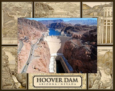 Hoover Dam Laser Engraved Wood Picture Frame (5 x 7)
