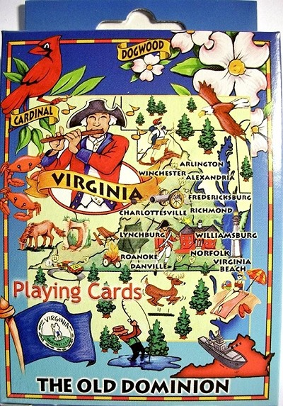 Virginia The Old Dominion State Road Map Souvenir Playing Cards Design 10
