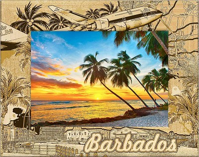 Barbados Laser Engraved Wood Picture Frame (5 x 7)