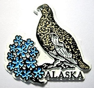 Alaska with Willow Ptarmigan and Flowers Fridge Magnet Design 1