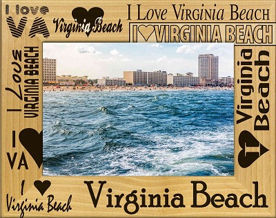I Love Virginia Beach Laser Engraved Wood Picture Frame (5 x 7)