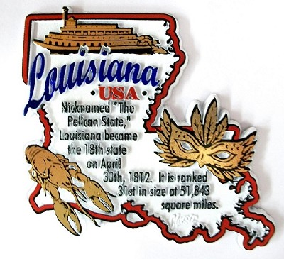 Louisiana The Pelican State Outline Montage Fridge Magnet Design 4
