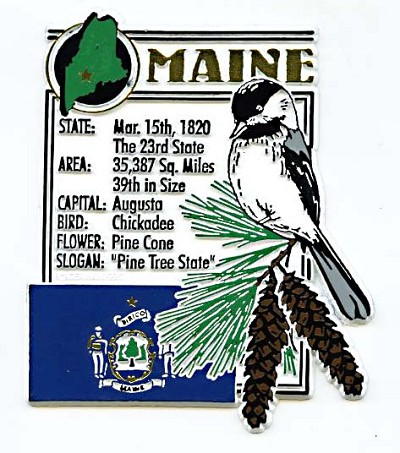 Maine The Pine Tree State Montage Fridge Magnet