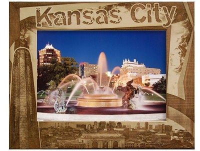 Kansas City Border Style Laser Engraved Wood Picture Frame (5 x 7)