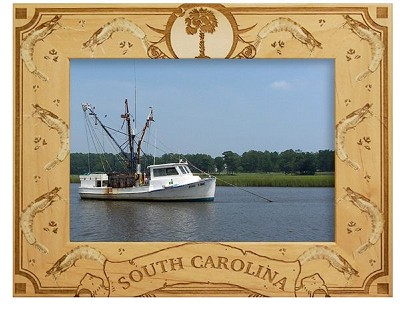 South Carolina with Shrimp Laser Engraved Wood Picture Frame (5 x 7)