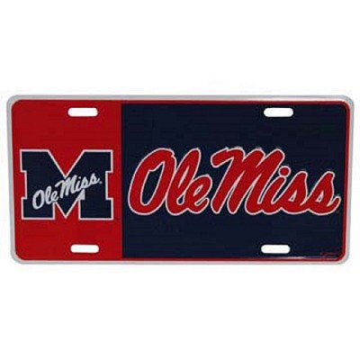 Ole Miss Rebels Block Style License Plate-NCAA
